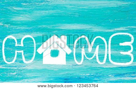 the word home logo turquoise wooden background the symbol for construction loan mortgage property or home great for houses buy sell rent business ideas announcements