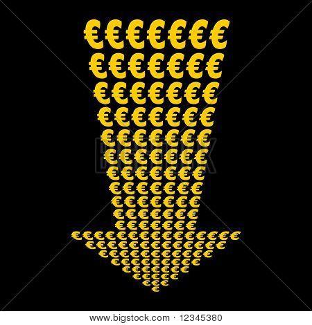 Euros symbol arrow pointing downwards illustration JPEG