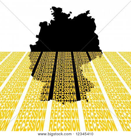 Germany map sinking into recession text illustration JPEG