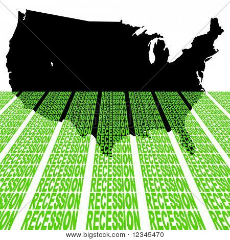 USA map sinking into recession text illustration JPEG