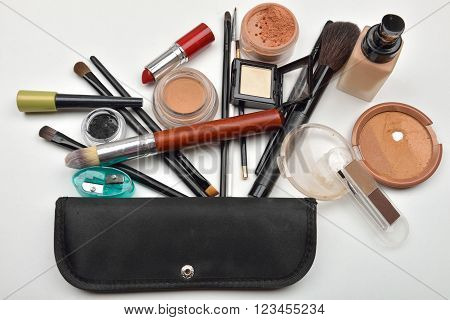 Close-up Of Open Liquid Foundation Bottle, Jar Of Loose Powder, Compact Powder, Eye Liner,eyebrow Po