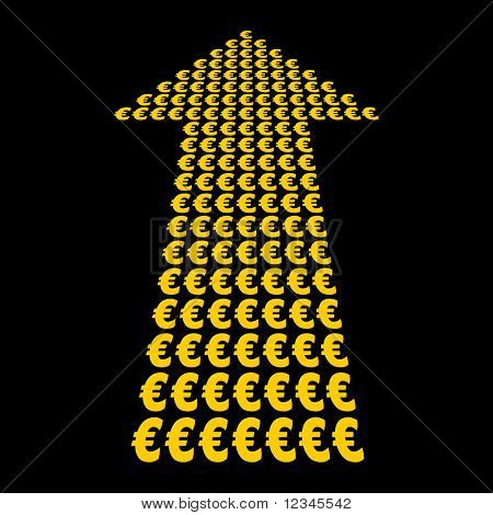 Euros symbol arrow pointing upwards illustration JPEG