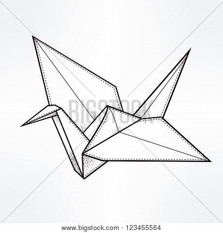 Origami crane bird. Paper crane stylized triangle polygonal model. Hand drawn isolated vector illustration. Invitation element. Tattoo, oriental, boho, luck and hope symbol.