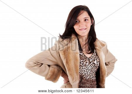 Beautiful Young Woman Smiling And Looking With Desire, Isolated On White, Studio Shot