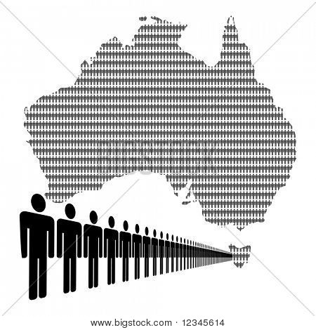 Map of Australia made of people with line of men JPEG
