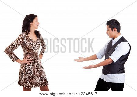 Latin Man To Extend His Arms To Embrace His Beloved, Isolated On White, Studio Shot