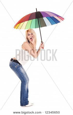 Casual Woman Holding Umbrella