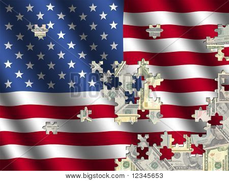 American flag jigsaw over dollars illustration