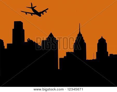 plane arriving in philadelphia at sunset illustration
