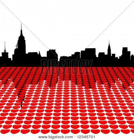 Midtown Manhattan skyline happy valentines day with hearts illustration JPEG