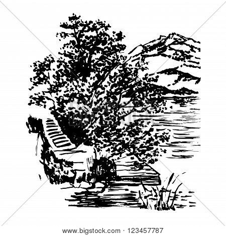 background beautiful landscape with mountains and lake Mondsee and walkways in the trees, in Upper Austria, Europe, graphic ink sketch hand-drawn vector illustration
