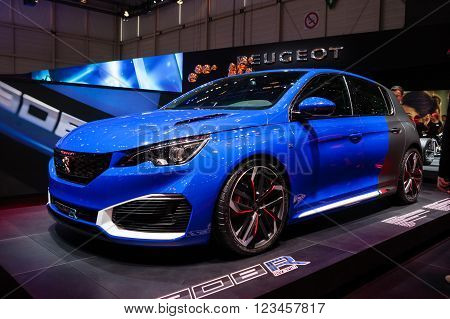 GENEVA, SWITZERLAND - MARCH 1: Geneva Motor Show on March 1, 2016 in Geneva, Peugeot 308R, side-front view