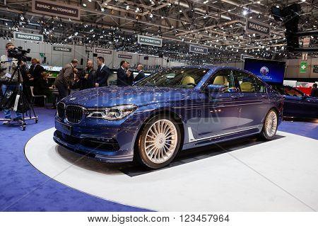 GENEVA, SWITZERLAND - MARCH 1: Geneva Motor Show on March 1, 2016 in Geneva, BMW Alpina B7 Bi-turbo, front-side view