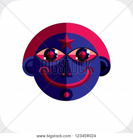 Personality Face Colorful Vector Illustration Made From Geometric Figures. Flat Design Image, Cubism