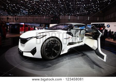 GENEVA, SWITZERLAND - MARCH 1: Geneva Motor Show on March 1, 2016 in Geneva, Peugeot Fractal Concept, front-side view
