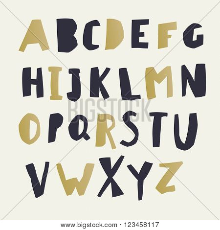 Paper Cut Alphabet. Black and gold letters. Capital letters. Good for ecology, environment, nature, organic themed designs