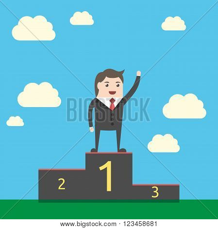 Happy triumphant businessman standing on pedestal on sky background. Man waving hand on victory podium. Achievement triumph. EPS 8 vector illustration no transparency