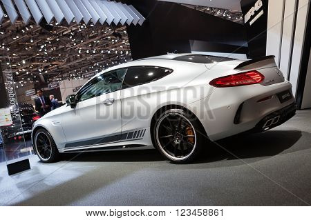 GENEVA, SWITZERLAND - MARCH 1: Geneva Motor Show on March 1, 2016 in Geneva, Mercedes-AMG C 63 S Coupe, rear-side view