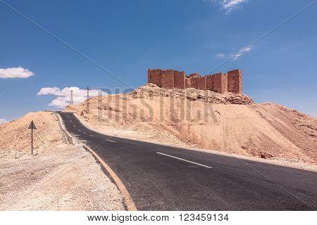 The ruins of Palmyra Castle, Syria. Fakhr-al-Din al-Ma'ani Castle