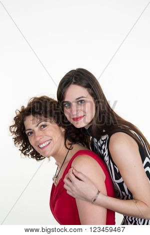 Isolated image of a mother and daughter in laughing together