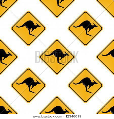 seamless kangaroo warning sign on white background illustration