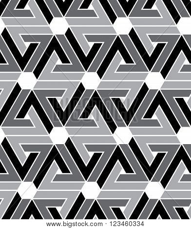 Black and white geometric zigzag seamless pattern endless ethnic vector background. Grayscale abstract wrapper with hexagons.