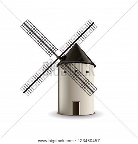 Windmill isolated on white photo-realistic vector illustration