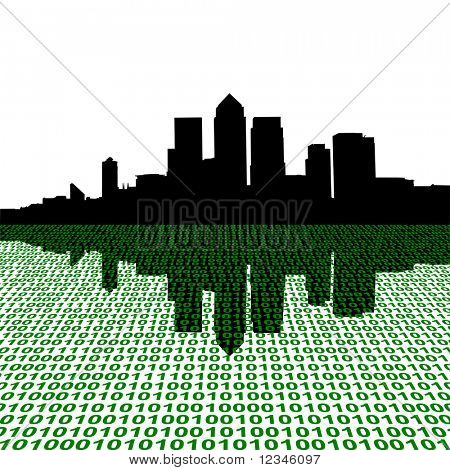 London Docklands skyline with binary perspective foreground JPEG