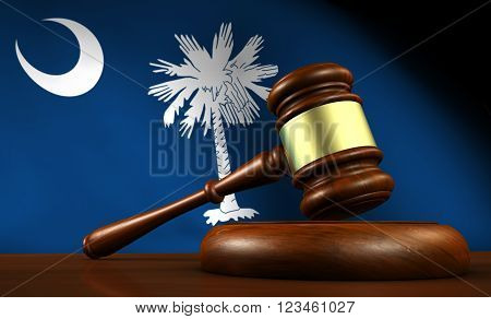 South Carolina law legal system and justice concept with a 3d Rendering of a gavel on a wooden desktop and the South Carolinian flag on background.