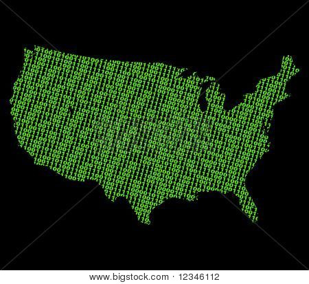 USA map with green binary code illustration