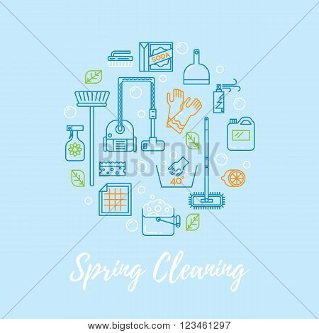 Modern clean linear style.  Cleaning equipment and   appliance design elements For web, banners, blogs, poster.