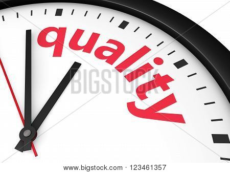 Quality time business and lifestyle concept with a clock and quality word and sign printed in red 3d rendering image.