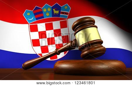 Croatia law legal system and justice concept with a 3d Rendering of a gavel and the Croatian flag on background.