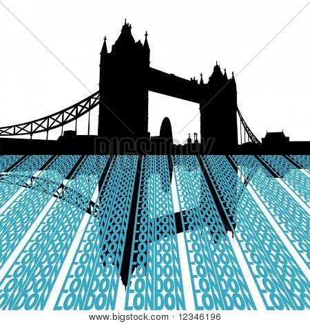 Tower Bridge reflected with London text illustration JPEG