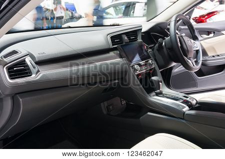 NONTHABURI - MARCH 23: Interior design of NEW Honda Civic 2016 on display at The 37th Bangkok International Motor show on MARCH 23 2016 in Nonthaburi Thailand.