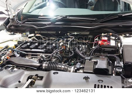 Nonthaburi - March 23: Engine Room Of New Honda Civic 2016 On Display At The 37Th Bangkok Internatio