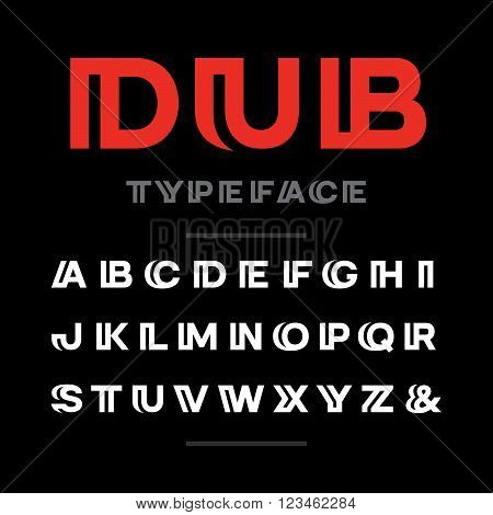 Wide Font. Vector Alphabet With Latin Letters And Numbers.