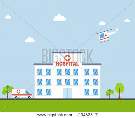 City Hospital building with ambulance and helicopter in flat design. Clinic Vector Illustration.