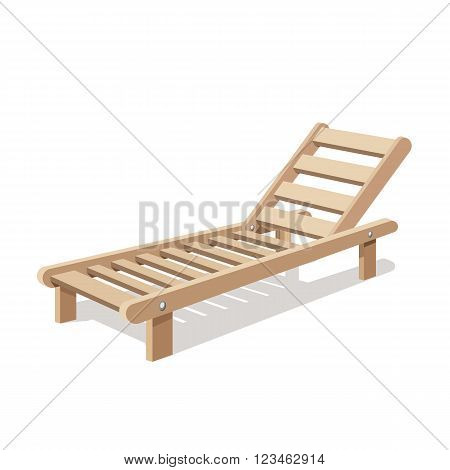 Sun lounger vector isolated on white background. Wooden chair. Vector illustration