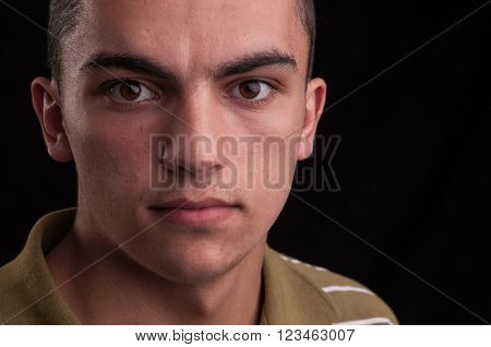 Portrait Of Young Caucasian Teenage, Closeup Headshot