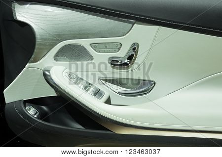 Nonthaburi - March 23: Door Panel With Power Window Controller Of New Mercedes Benz S500 Coupe Amg O