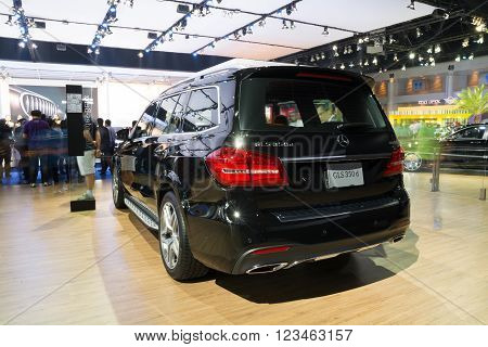 NONTHABURI - MARCH 23:NEW Mercedes Benz Gls 350d AMG premium on display at The 37th Bangkok International Motor show on MARCH 23, 2016 in Nonthaburi, Thailand.