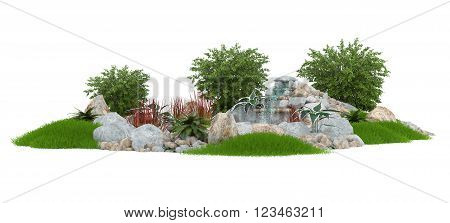 3D illustration of a decorative pond on a white background