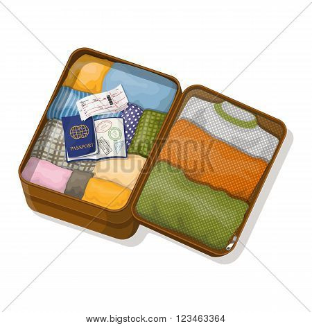 Open suitcase with clothes, passports with visas and tickets. Vector illustration