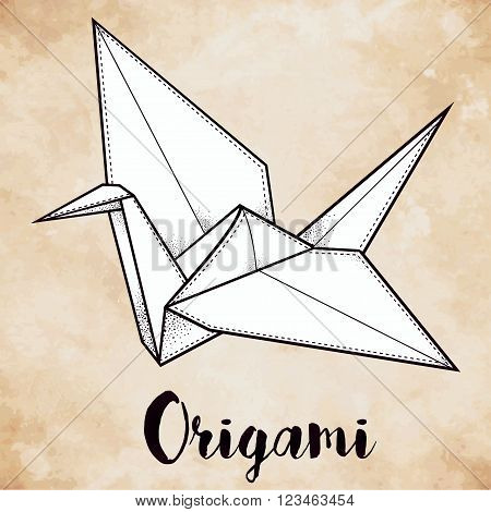 Origami crane bird. Paper crane stylized triangle polygonal model with paisley details . Hand drawn isolated vector illustration. Invitation element. Tattoo, oriental, boho, luck and hope symbol.