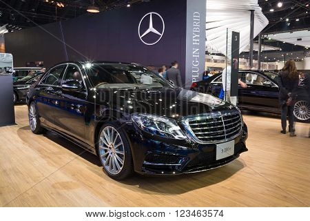 NONTHABURI - MARCH 23:NEW Mercedes Benz Gls S500 e AMG Premium on display at The 37th Bangkok International Motor show on MARCH 23, 2016 in Nonthaburi, Thailand.