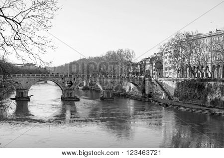 the river Tiber in Rome, Italy  - Europe