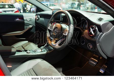 Nonthaburi - March 23: Interior Design Of New Mercedes Benz A45 Amg Premium On Display At The 37Th B