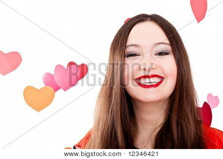 Young Woman On Valentine's Day
