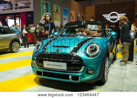 NONTHABURI - MARCH 23: New Mini Convertible on display at The 37th Bangkok International Motor show on MARCH 23, 2016 in Nonthaburi, Thailand.